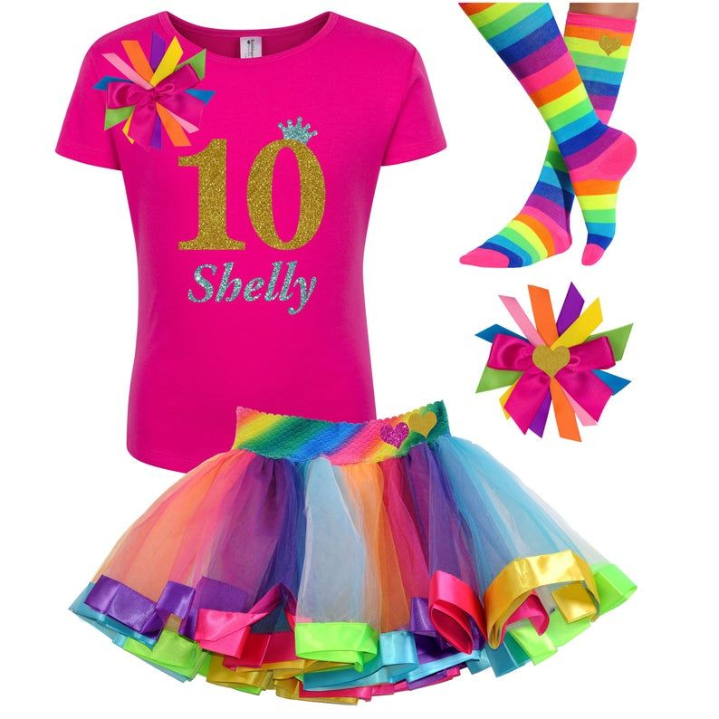 Gold Glitter 10th Birthday Shirt Gold Pink Rainbow Tutu Rainbow Party Birthday Hair Bow Personalized Name Rainbow Socks Tutu dress Ten 10
