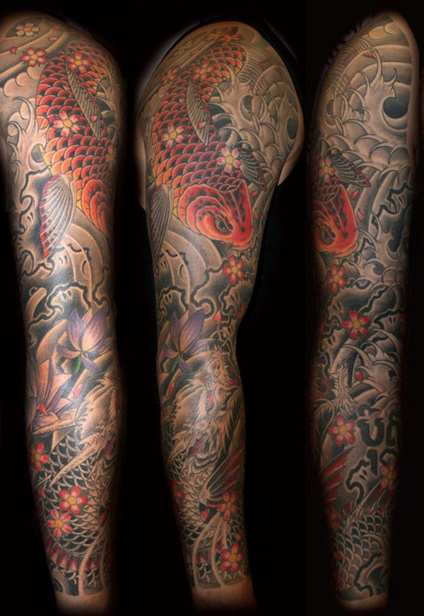 9c7136dd34aff Dragon Koi fish Sleeve - 95 Awesome Examples of Full Sleeve Tattoo Ideas <3  <3