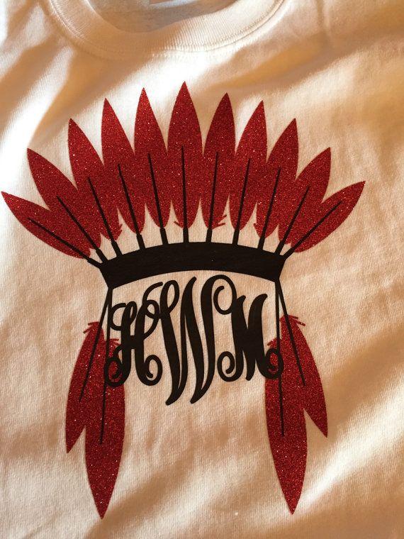 indian headdress monogram tee by amazingadhesives on etsy