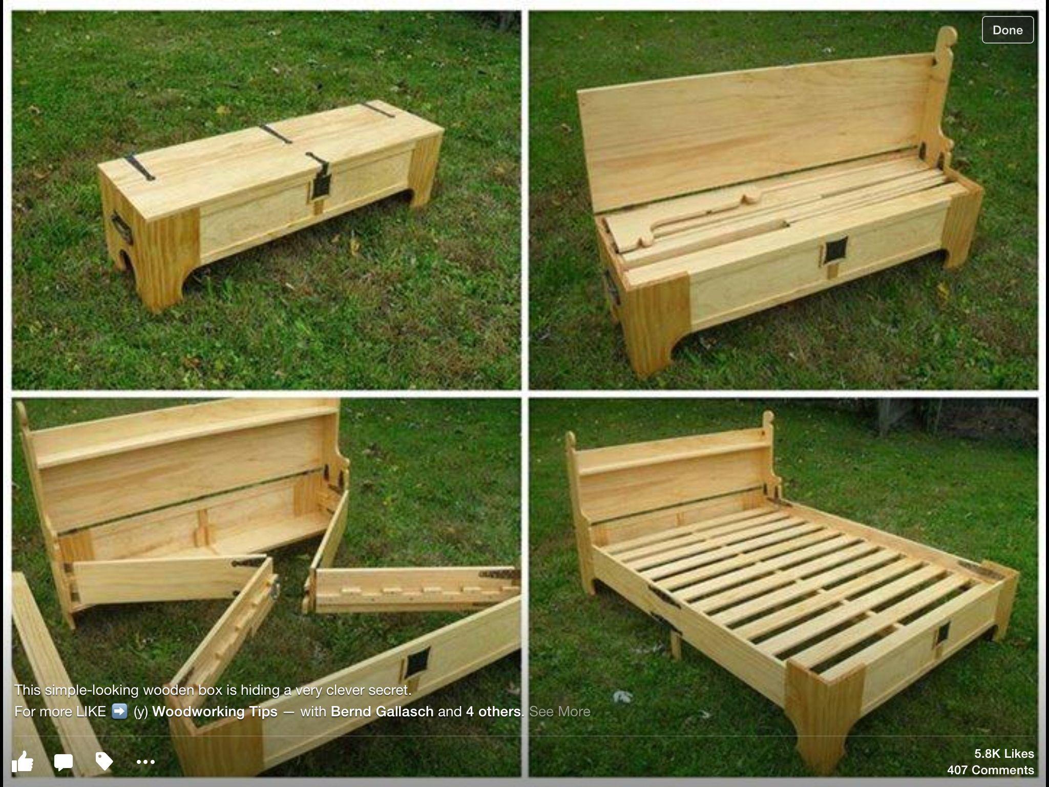 Hidden bed in bench DIY Furniture Pinterest Hidden