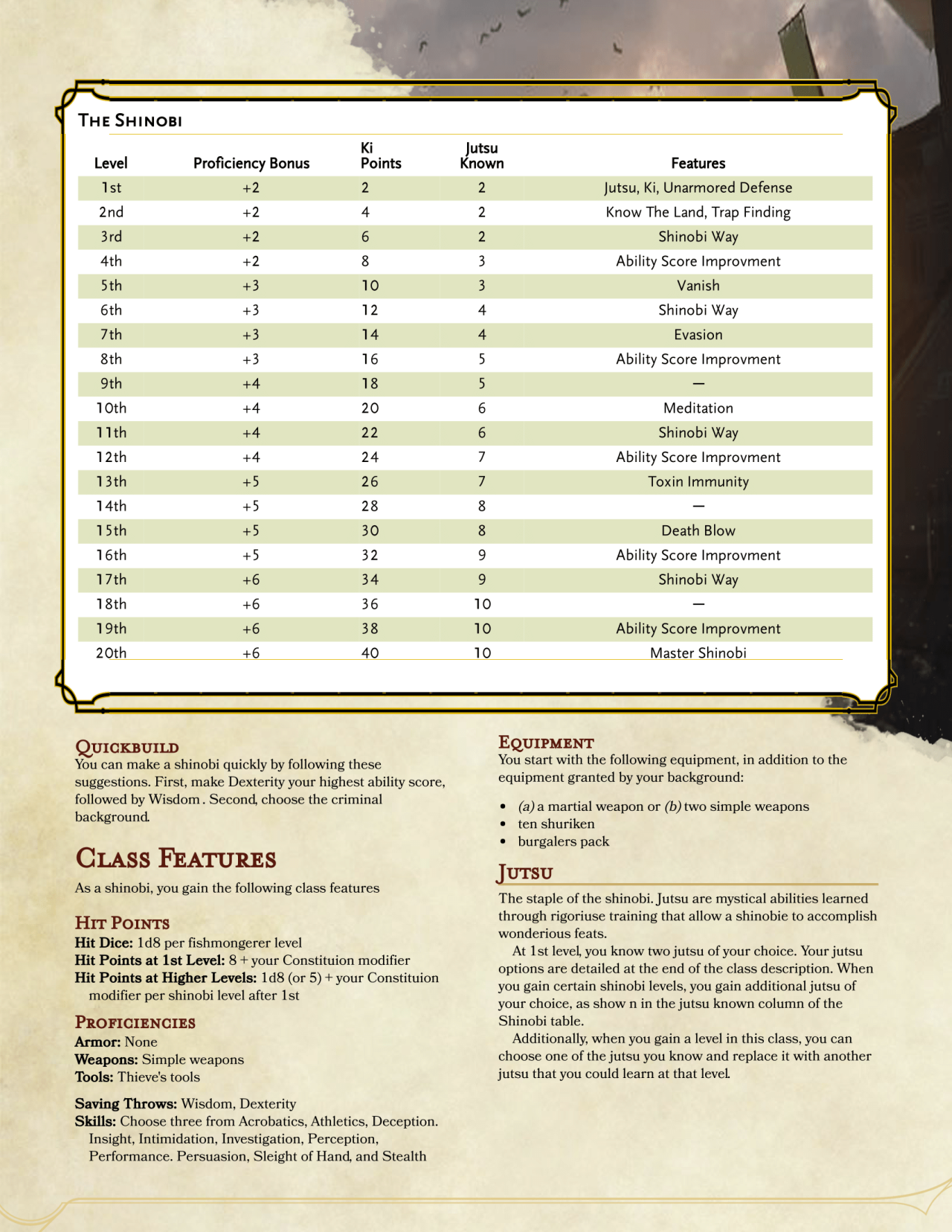 DnD 5e Homebrew — Shinobi Class by PoundTown00 | Classes in 2019