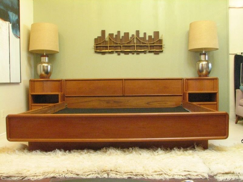 Mid century headboard nightstand combination mid century - Midcentury modern bedroom furniture ...