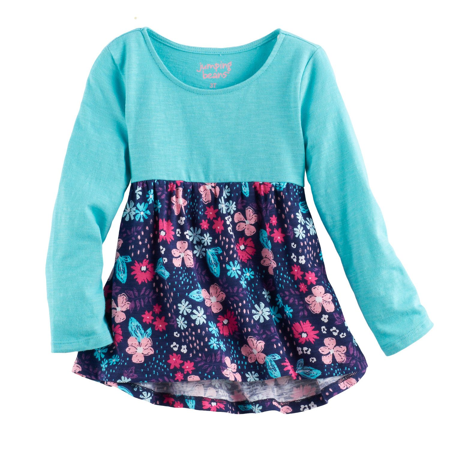 0a3df01c7 Toddler Girl Jumping Beans® Print Long Sleeve High-Low Hem Tunic ...