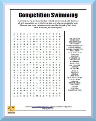 Competition Swimming Word Search Swimming Is A Big Sport And One That Virtually Anyone Can Do