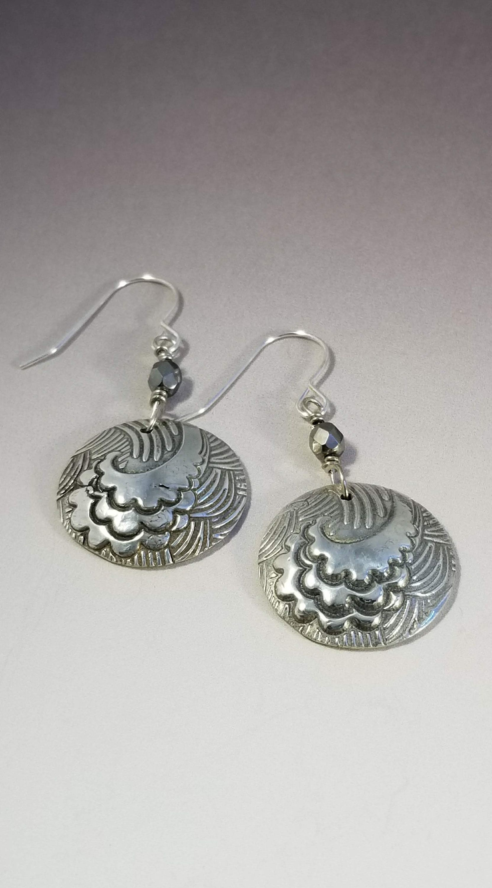 Silver ocean wave earrings-Water is life-Catch a wave-The shape of water-beach earrings-beachcomber-scuba gift-surfs up-waves-sand-beach-sun