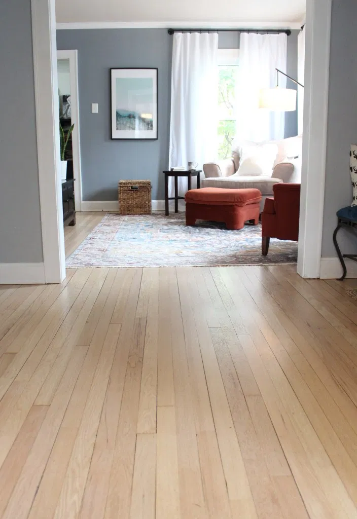 Red oak hardwood floor refinish.