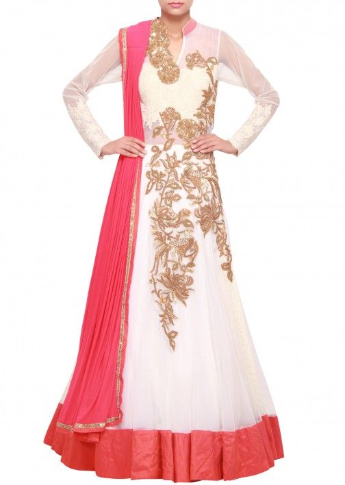 Saree gown in cream embellished in sequence and zari only on Kalki ...