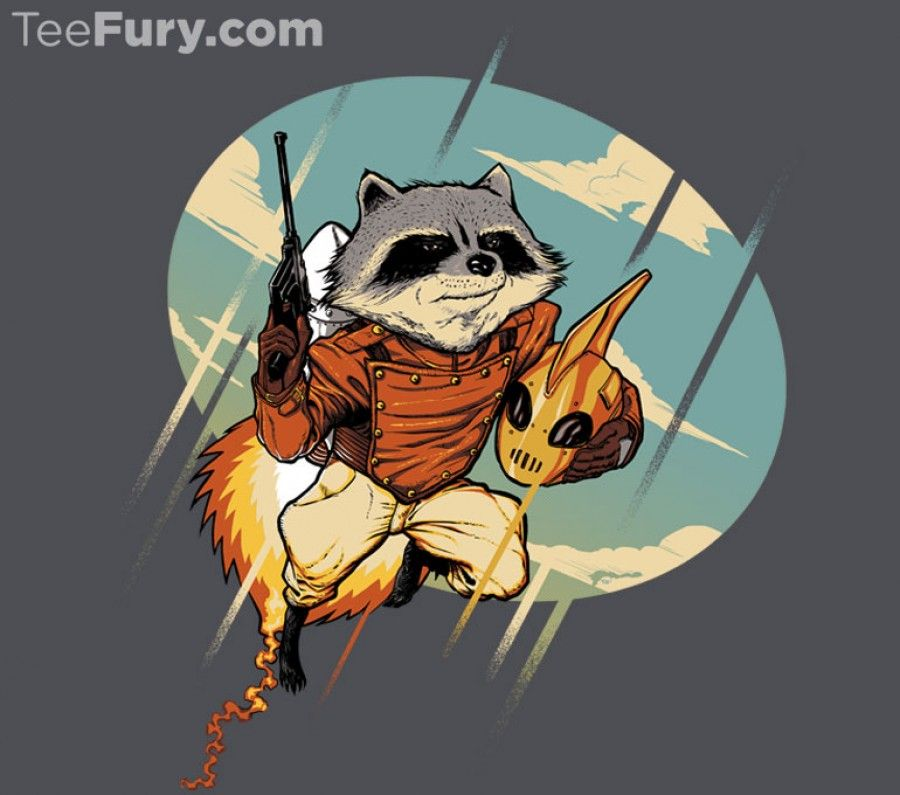 """Rocket Raccoon-a-teer by ninjaink (""""Nothing more majestic than a raccoon with an experimental prototype jetpack!"""")"""