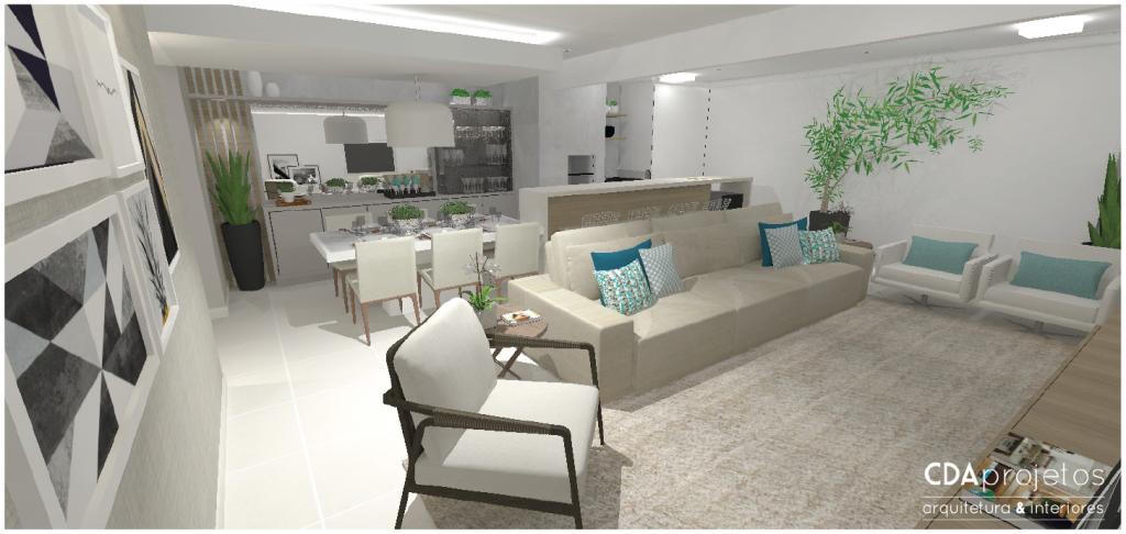 Photo of Sala integrada em tons neutros | CDA Projetos – Casa das Amigas