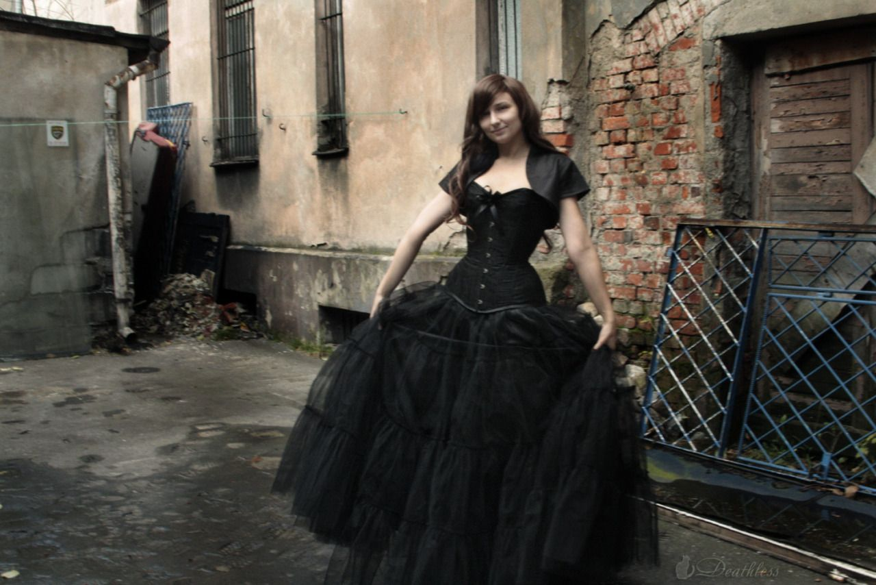 Black brocade overbust u long petticoat skirt by deathless corsets