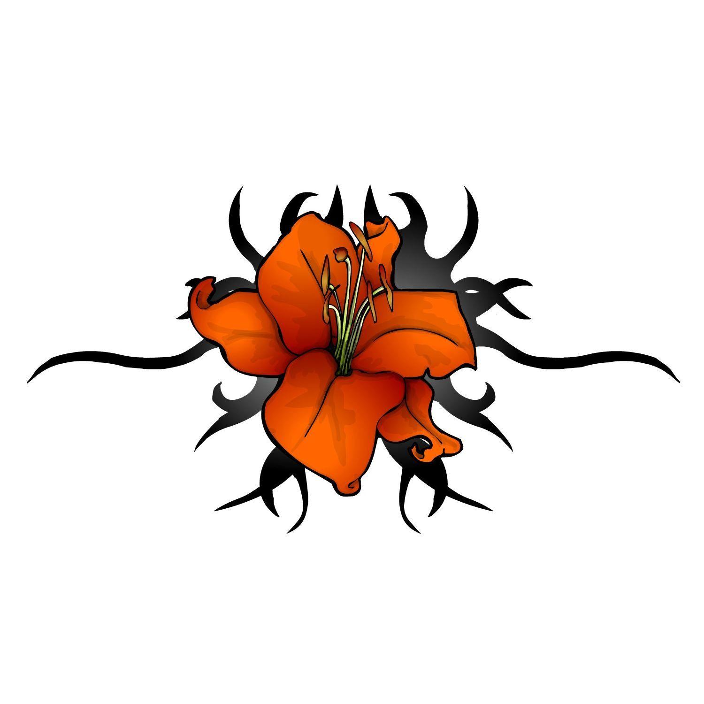 Tattoo Flower Designs Lily Flowers Tribal Red Orange Ink