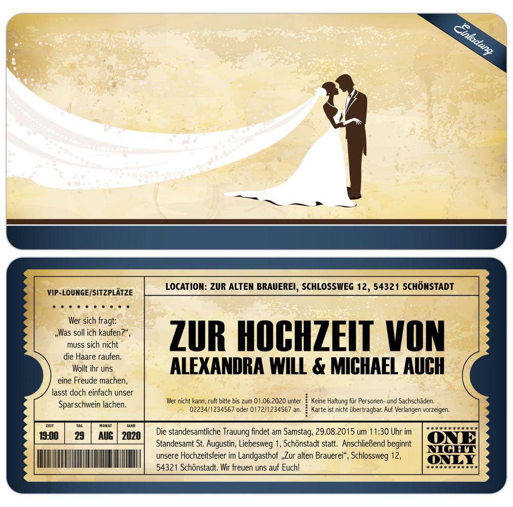 Eintrittskarte Vintage Einladungskarten zur Hochzeit Einladung Ticket