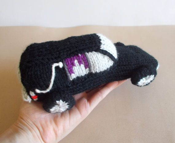 Hearse Knitted Stuffed Toy - Car Soft Toy - Halloween Decor - halloween decorated cars