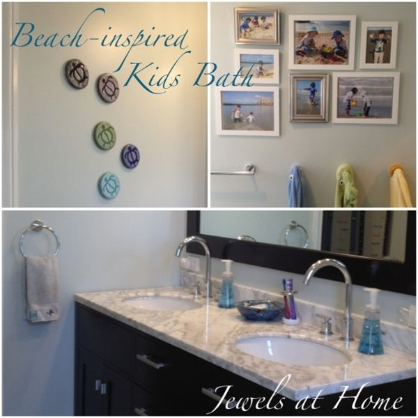 small beach themed bathrooms hawaiian beach inspired bathroom shared kids and guest bathroom - Bathroom Designs Beach Theme