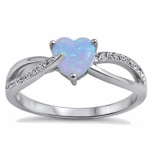 USA Seller Heart Earrings White Lab Opal Clear CZ Sterling Silver 925 Best Price