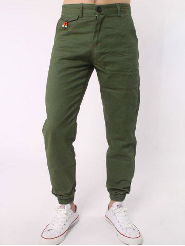 ARMY GREEN Zipper Fly Beads Embellished Chino Jogger Pants M
