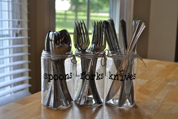 Plastic Mason Jar Silverware Holder Personalized Party Decor Spoon Fork And Knife Containers Summer P Plastic Mason Jars Silverware Holder Plastic Ware