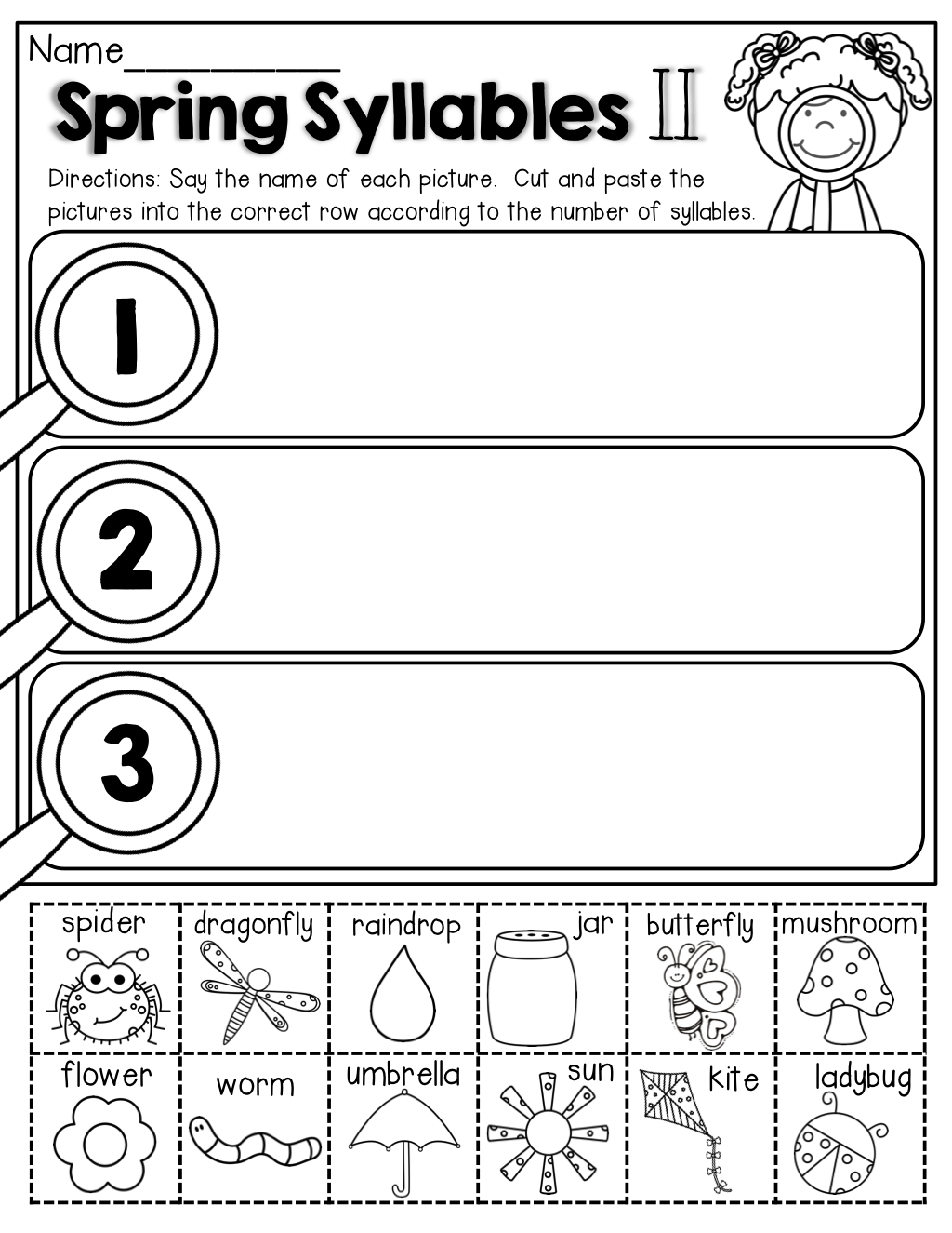 small resolution of Spring Math and Literacy Packet (Kindergarten)   Syllable worksheet