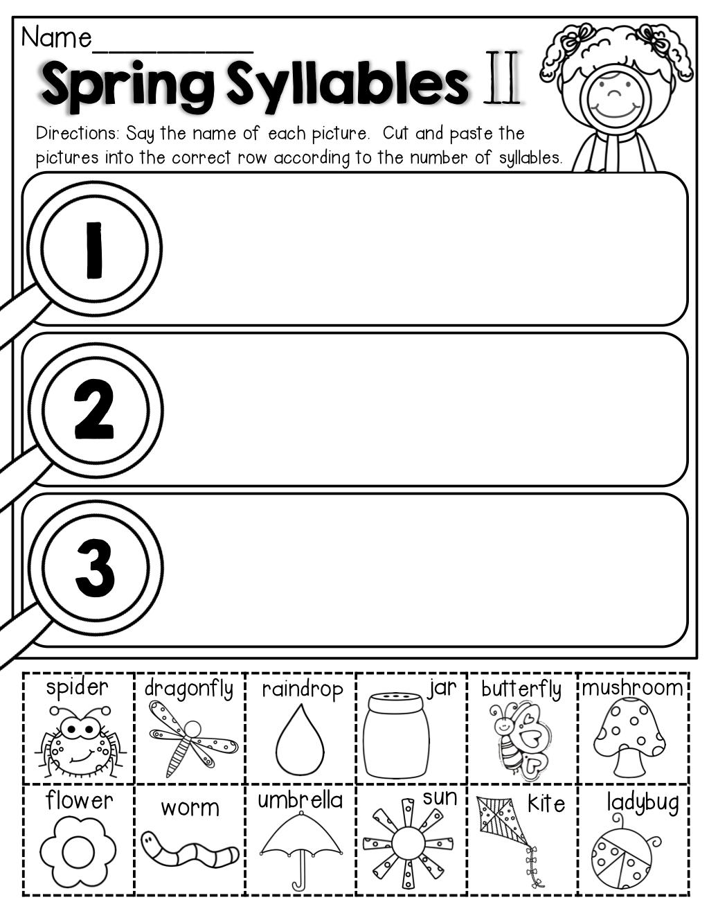 Spring Math and Literacy Packet (Kindergarten)   Syllable worksheet [ 1325 x 1024 Pixel ]