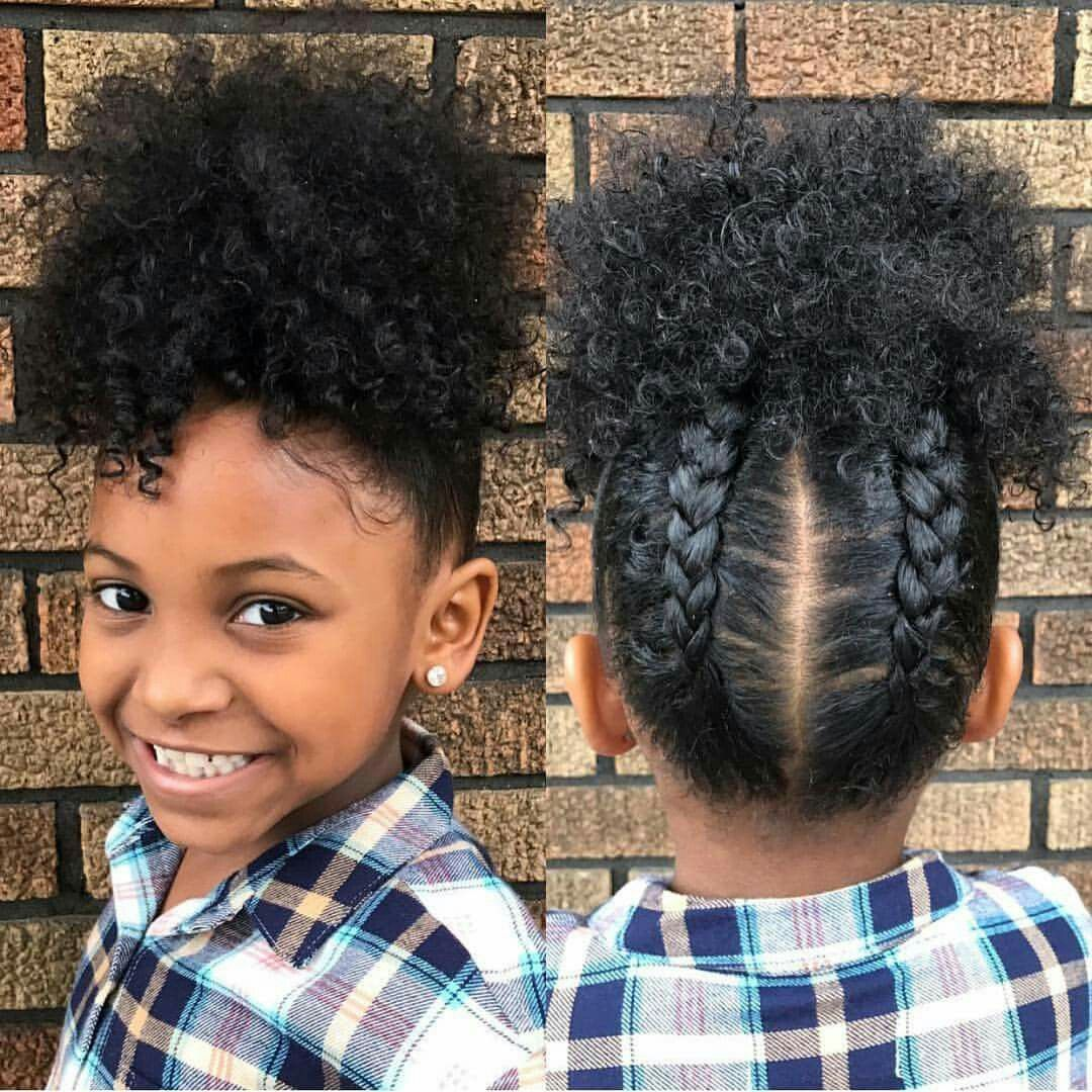 Cute and simple hairstyle for little girls braids and puff cute