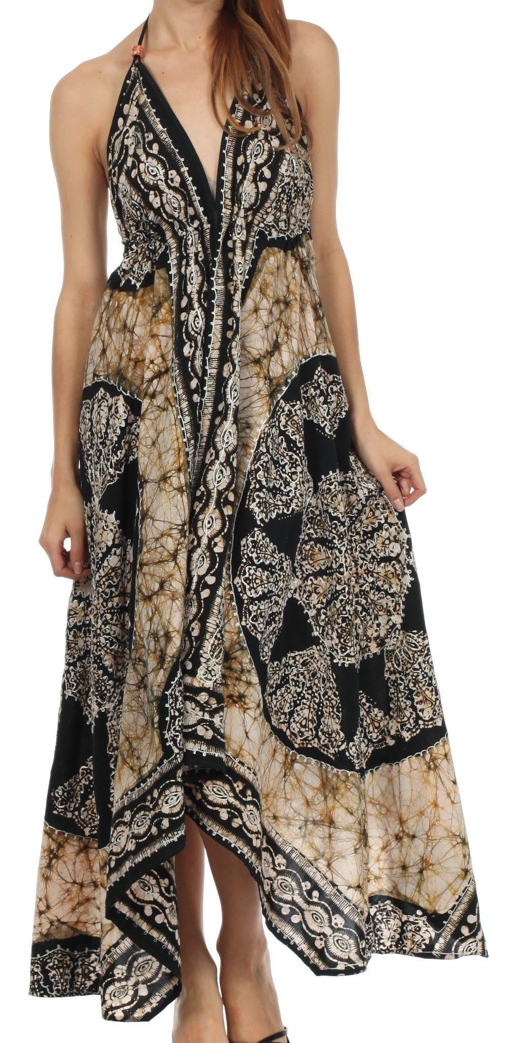 Sakkas Batik Medallion Handkerchief Hem Adjustable Dress