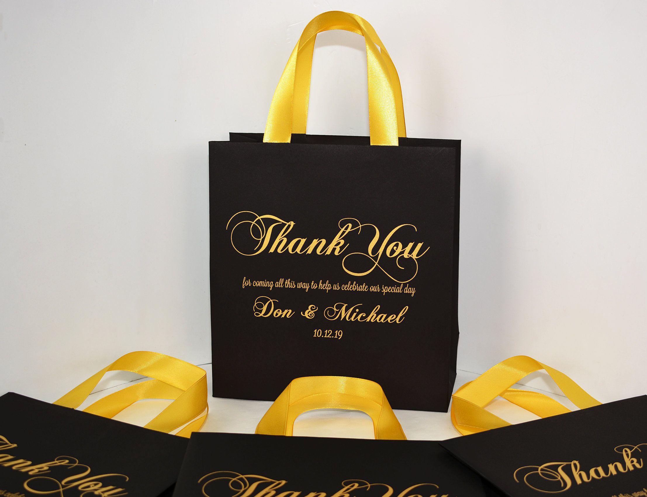 25 black gold wedding bags with satin ribbon