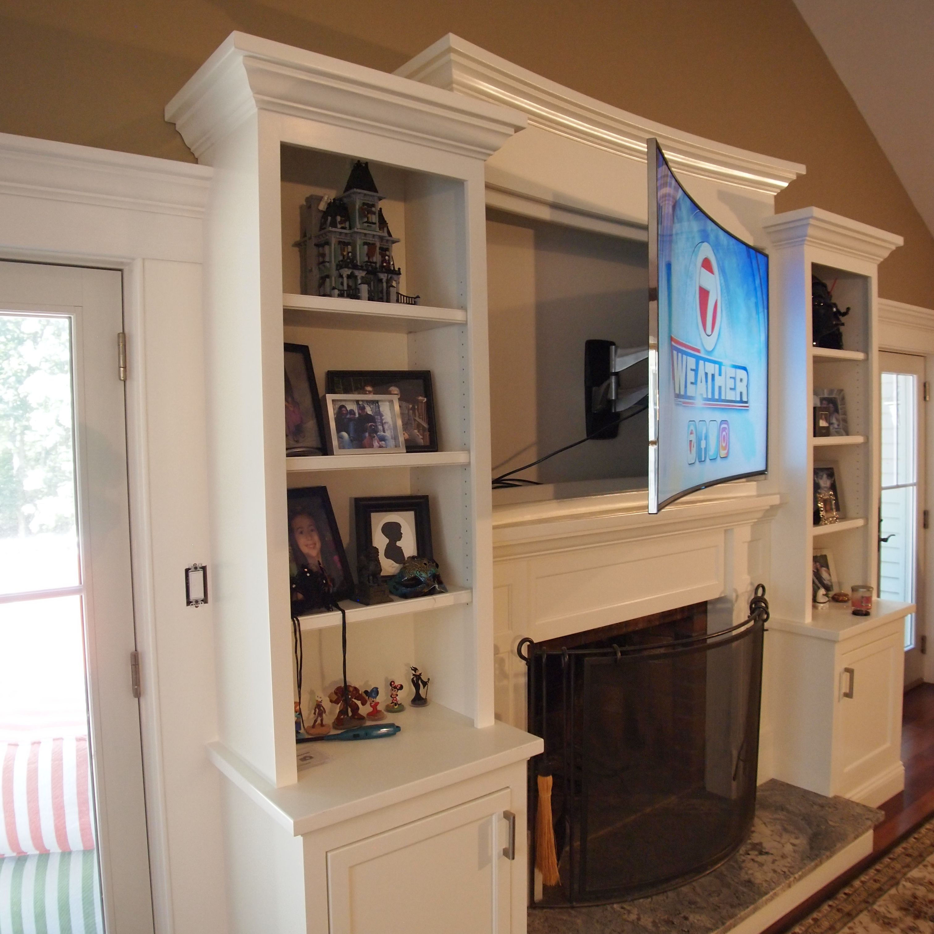 Custom Entertainment Center With Curved Tv Cabinet To Match 65 Curved Samsung Tv Entertainment Center Custom Entertainment Center Tv Cabinets
