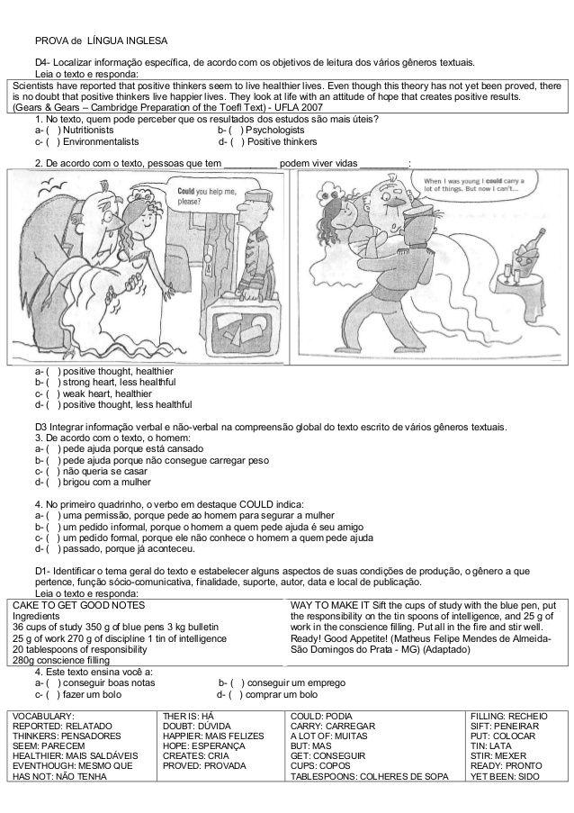 Prova De Ingles Com Descritores 2 Com Imagens Prova De Ingles