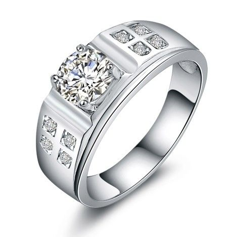 1 Carat Diamond Custom Engraved Male Wedding Bands