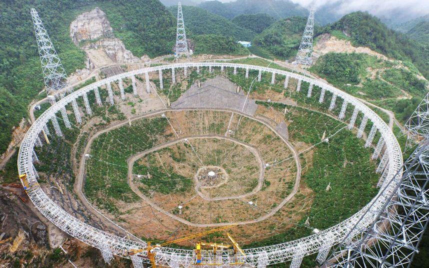 FAST, el mayor radiotelescopio del mundo, en construcción en Pingtang, China (Barcroft Media, 2015)