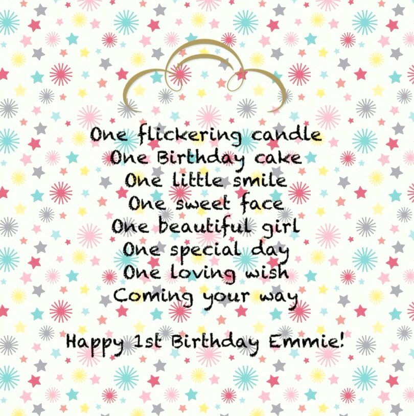 Cute Verse For A One Year Old Girls Birthday Card