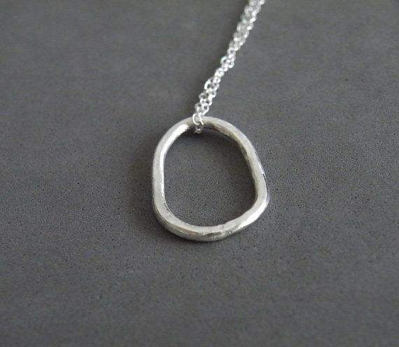 Silver Pebble Hoop Pendant Sterling Silver Chain Minimalist Modern Jewelry by SteamyLab