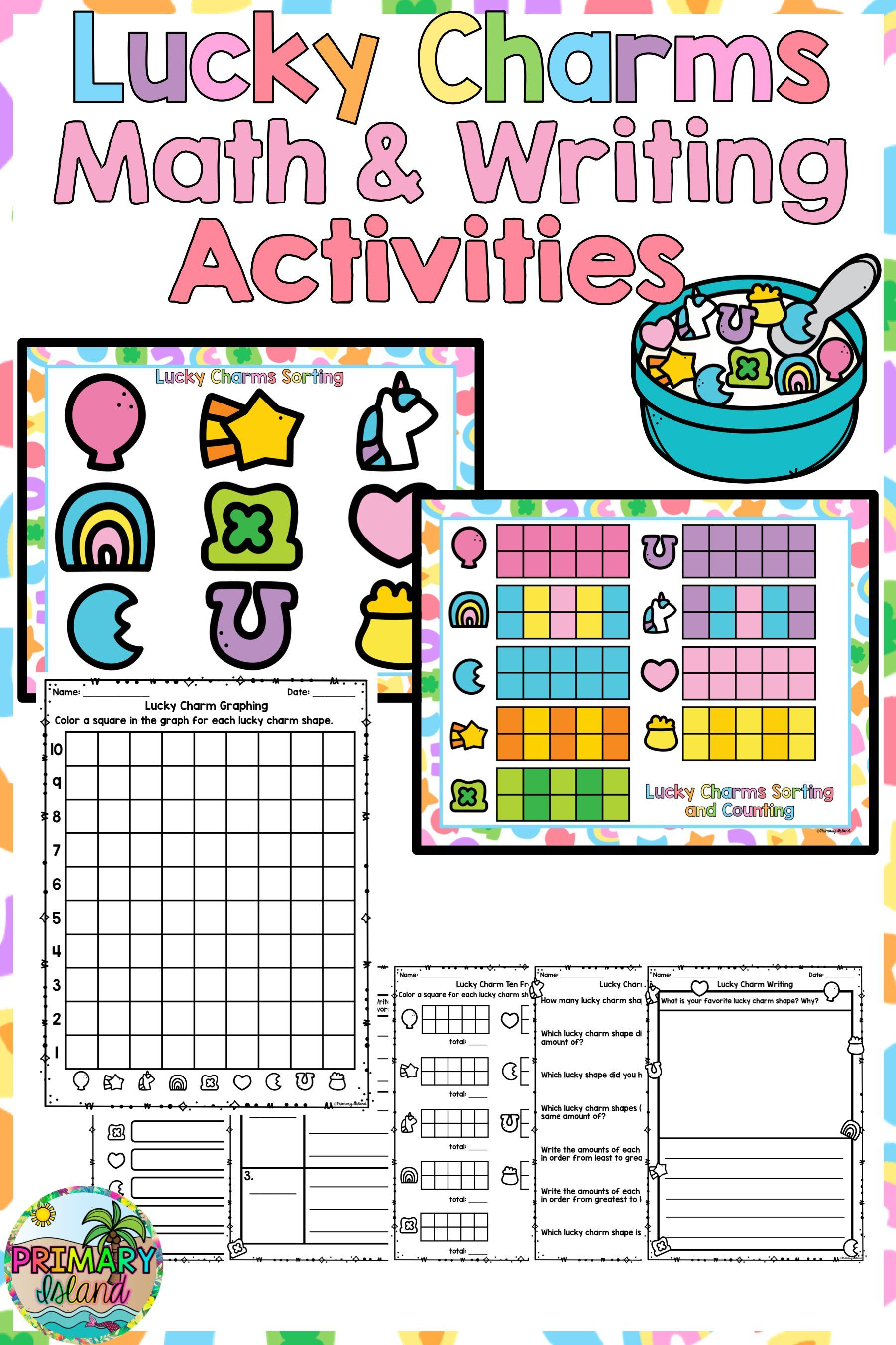 St Patrick S Day Lucky Charms Math And Writing Activitiy