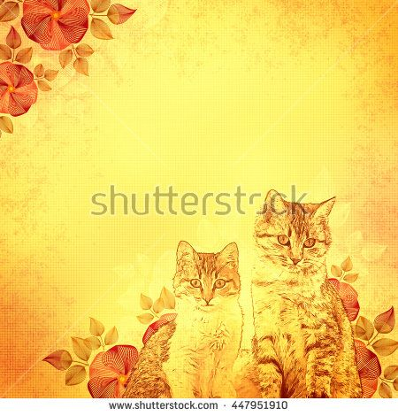 Ancient Illustration Kittens And Flowers Yellow Vintage Background Basis For Design