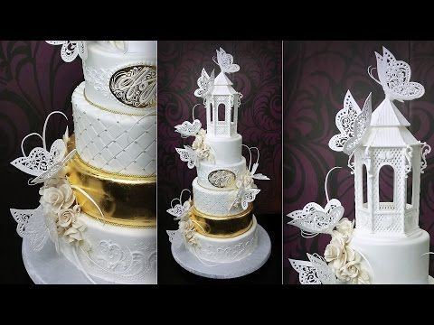 Gazebo Doves Wedding Cake