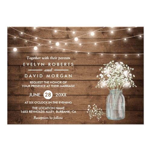 Baby S Breath Mason Jar String Lights Wedding Invitation