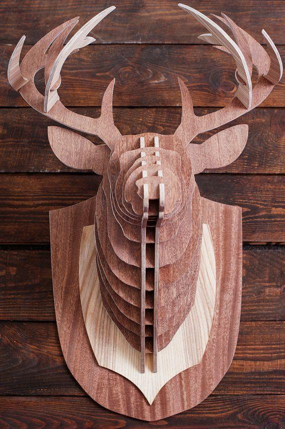 Cabeza de ciervo madera rompecabezas 3d taxidermia por - Cabeza de ciervo decoracion ...