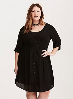 91e33fed00f  div Get ready to fall in love with this shirt dress. Sleek black gauze  lends a breezy and crisp feel to the romantic overlay. Delicate embroidery  cascades ...