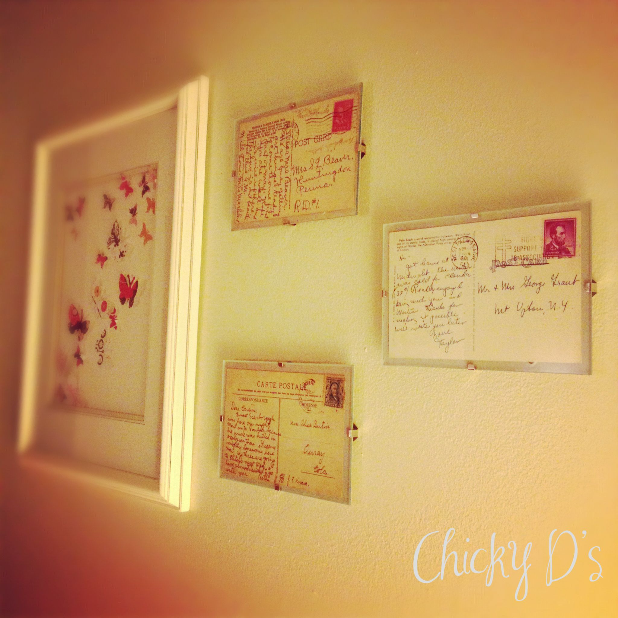 ikea clips frames and old postcards diy upcycled repurposed