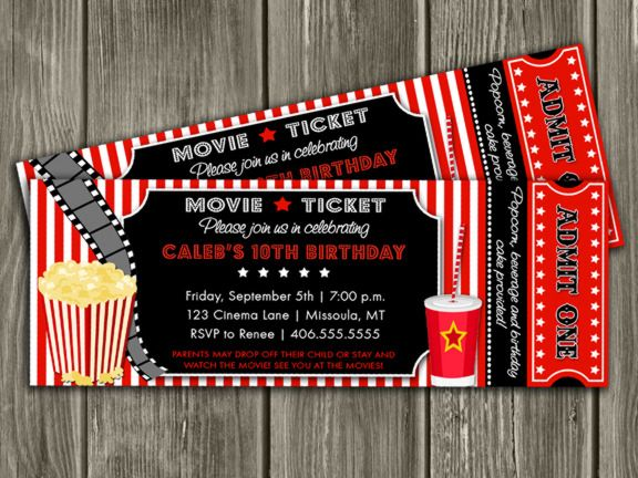Printable Movie Ticket Birthday Invitation Movie Event Hollywood