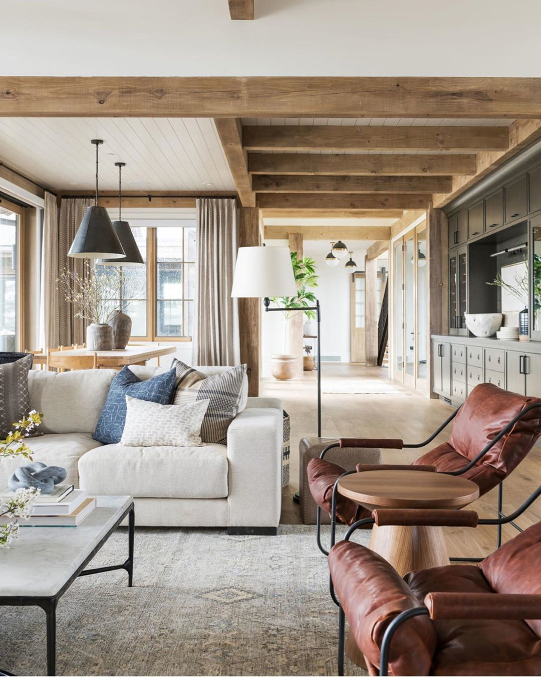 Studio Mcgee On Instagram Today We Re Sharing Our Foolproof Guide And Simple Tips For Rug Placement On The B Great Room Layout Rustic Living Room Ranch House