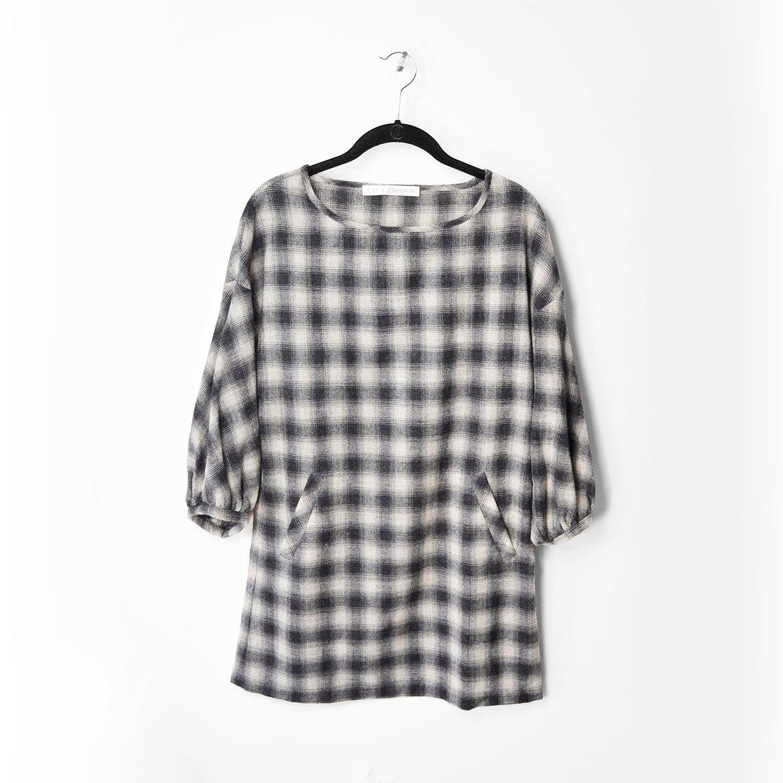 3 4 sleeve silk saree blouse designs ulla johnson gray cream plaid  sleeve silk shift dress