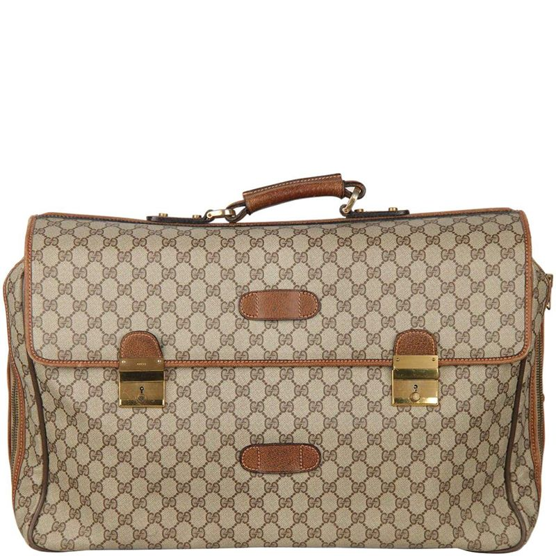 8fe584a48d5 Gucci Beige Brown GG Coated Canvas Vintage Travel Briefcase