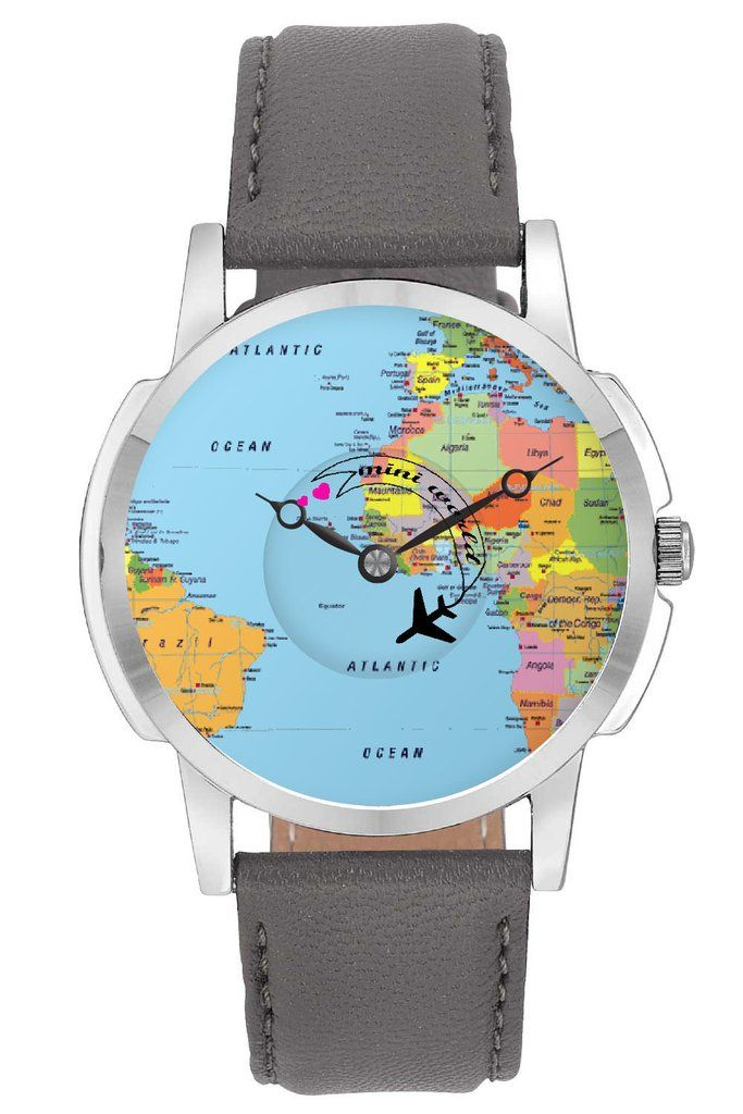 Travel watch airplane world map design leather strap casual wrist travel watch airplane world map design leather strap casual wrist watch online india gumiabroncs Gallery