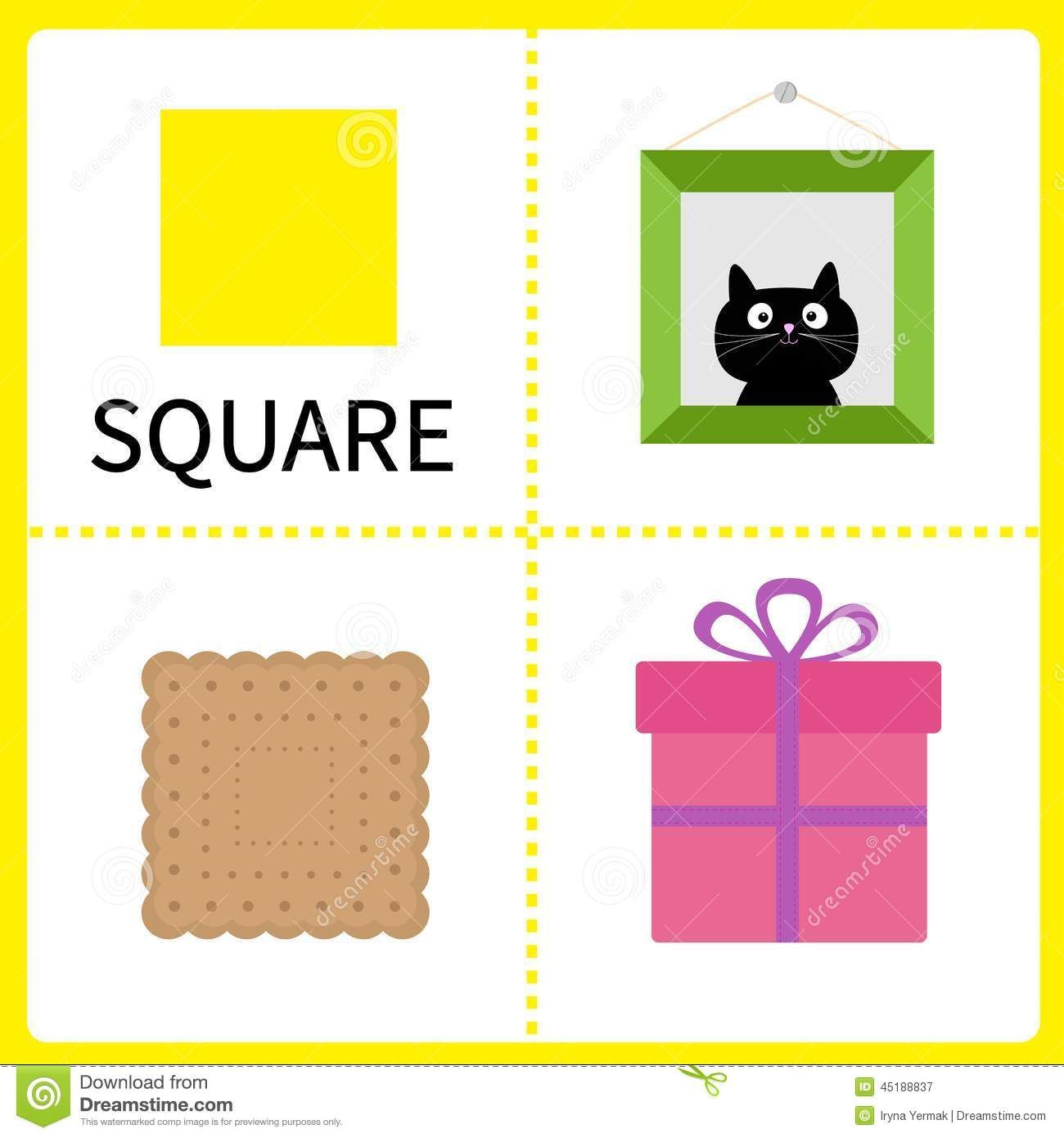 learning square form frame picture gift box biscuit educational