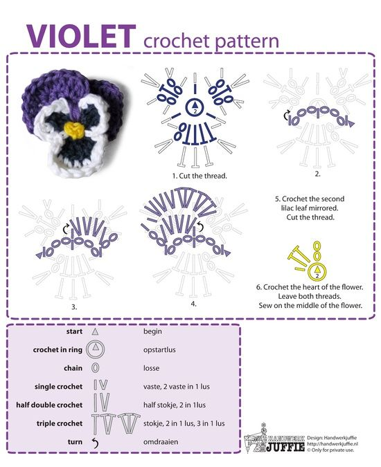 Violet, free tutorial by Handwerkjuffie, Chart with Dutch and English explanations..