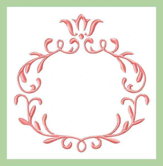 Crest monogram frame machine embroidery design