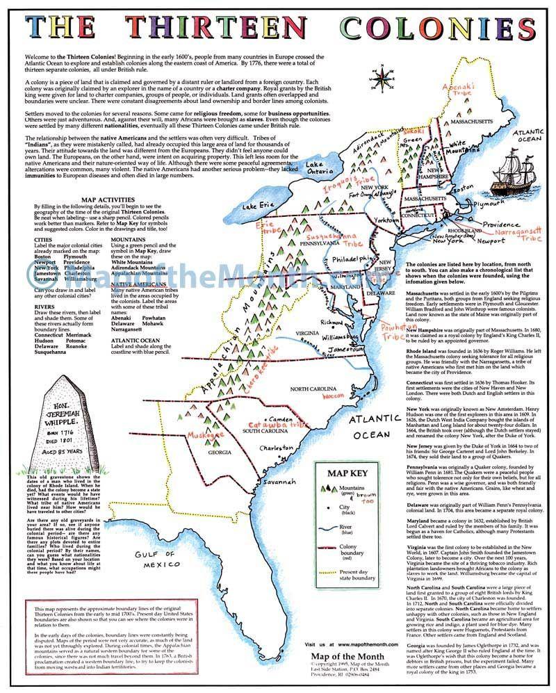 medium resolution of The Thirteen Colonies Map - Maps for the Classroom   Thirteen colonies map