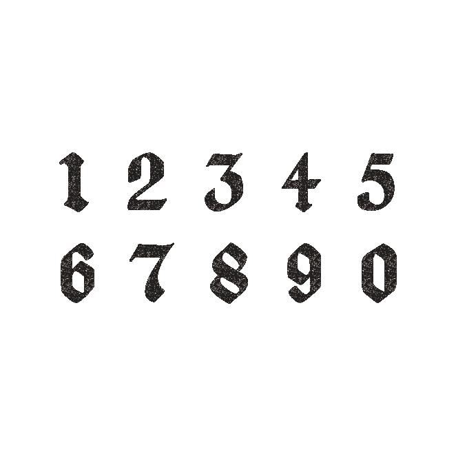 おしゃれ で かっこいい 数字 のシンプル スタンプ 白黒 イラスト タトゥー デザイン 文字 テキストデザイン 数字デザイン