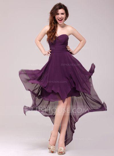Aftonklänningar - $97.49 - A-linjeformat Hjärtformad Asymmetrisk Chiffong Aftonklänning